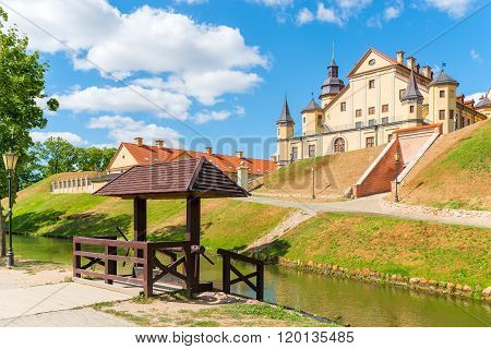 NESVIZH, BELARUS - August 18, 2015: The palace complex in Nesvizh Belarus on the hill