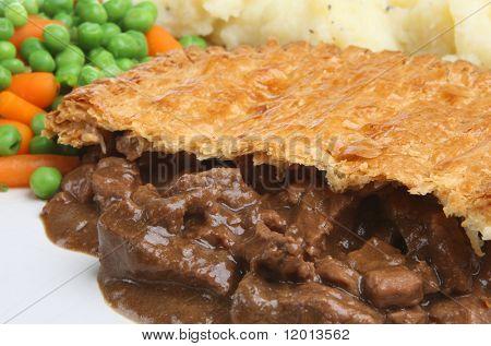 Steak pie with mashed potato