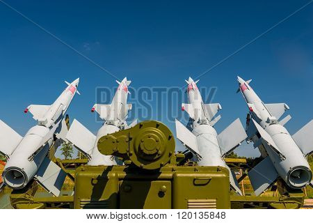 anti-aircraft missile system S-125 aimed at the sky poster