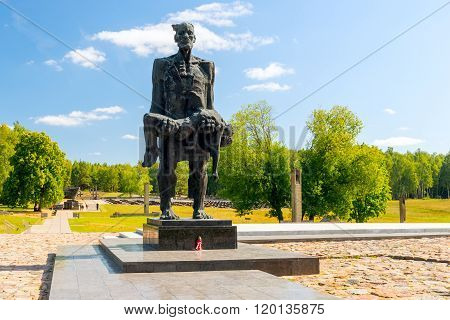 Khatyn, Belarus - 20 August 2015: sculpture of the memorial complex