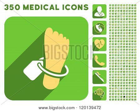 Mortuary Foot Tag Icon and Medical Longshadow Icon Set
