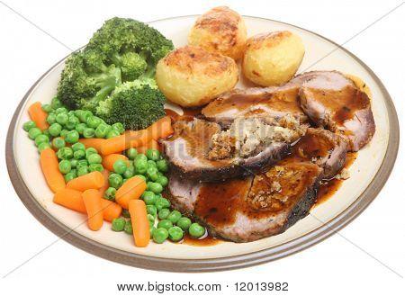 Roast pork dinner