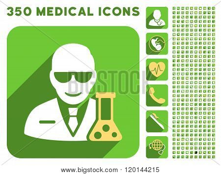 Scientist With Retort Flat Icon And Medical Longshadow Flat Icons