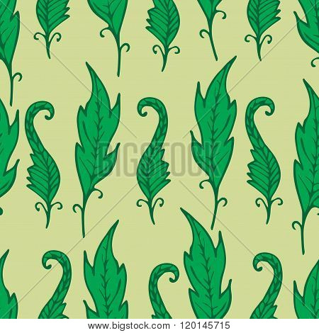 Repeating Floral And Feather Pattern. Seamless Texture With Bright Leaves. Green Colors. Tropical.