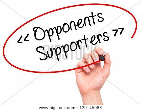 Man Hand Writing Opponents - Supporters With Black Marker On Visual Screen.