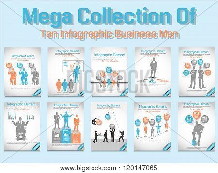 Mega Collection Business Man Modern Infographic Orange