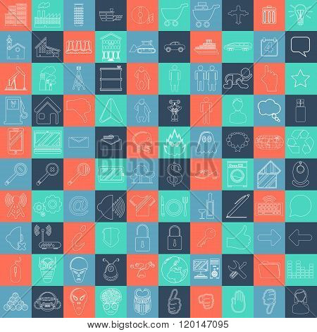 MEGA COLLECTION OF 100 DIFFERENT SIMPLE ICONS FOR YOUR WEBSITE