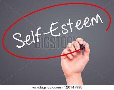 Man Hand Writing Self-esteem With Black Marker On Visual Screen.