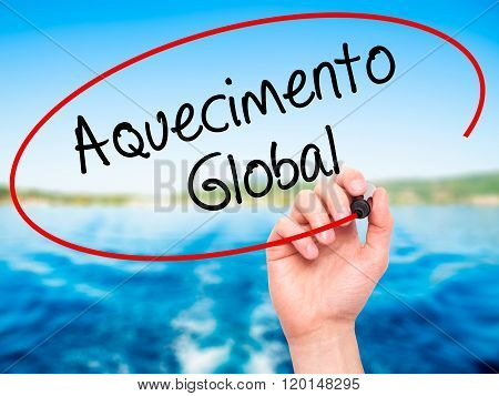 Man Hand Writing Aquecimento Global (global Warming In Portuguese) With Black Marker On Visual Scree