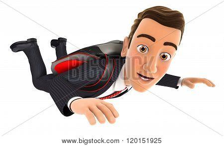 3d businessman jumping with a parachute