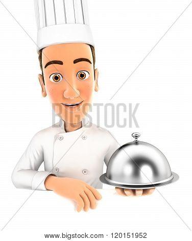 3d head chef holding restaurant cloche