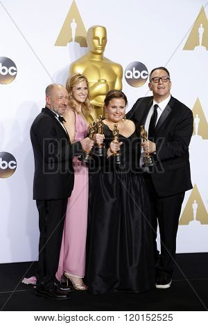 LOS ANGELES - FEB 28:  Steve Golin, Blye Pagon Faust, Nicole Rocklin, Michael Sugar at the 88th Annual Academy Awards - Press Room at the Dolby Theater on February 28, 2016 in Los Angeles, CA