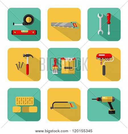 Big vector icons set of construction tools