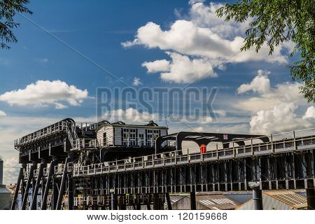 Upper trough of the Anderton Boat Lift which raises narrowboats between River Weaver the Trent and Mersey Canal. England United Kingdom.