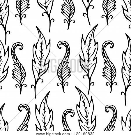 Repeating Floral And Feather Pattern. Seamless Texture With Black Leaves On White Background.