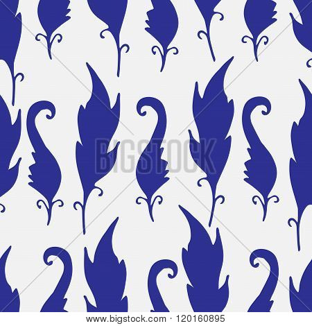 Repeating Floral And Feather Pattern. Seamless Texture With Leaves Silhouettes. White Background.