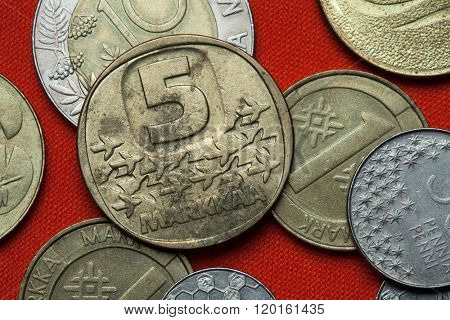 Coins of Finland. Finnish five markka coin (1983). poster