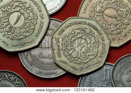 Coins of Jordan. Jordanian half dinar coin.