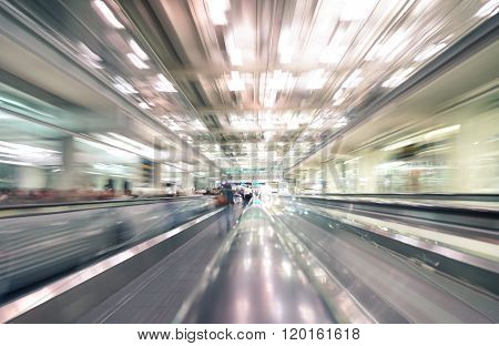Radial Zoom Defocused Treadmills With Motion Blur -  Modern International Airport - Travel Concept