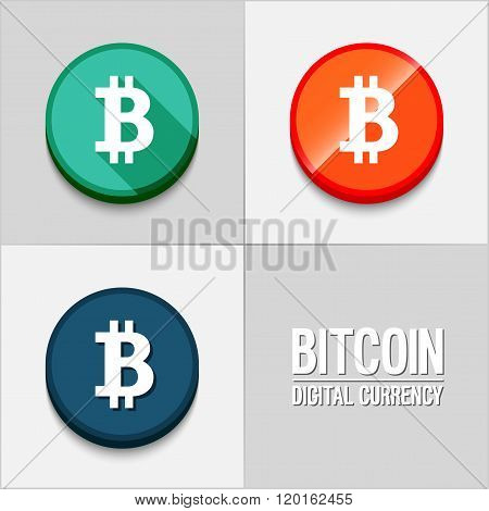 Bitcoin Icons Set.