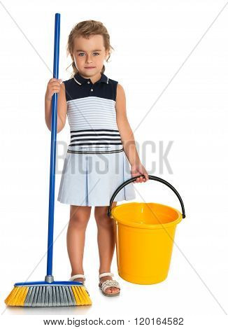 Girl with bucket and brush