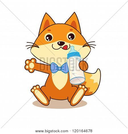 Cute Funny Fox Holding A Bottle Of Milk. Cheerful Character. Cartoon Vector. Cartoon Vector Funny Fox Memes. Funny Foxy Pics. Baby Animals. Funny Fox Shirt. Sweet Tooth.