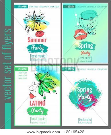 Set of bright vector leaflets, posters