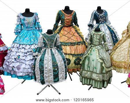 Colorfull Stylized Woman Medieval Costume Clothes Isolated