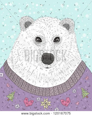 Cute hipster polar bear with christmas sweater. Winter illustration.