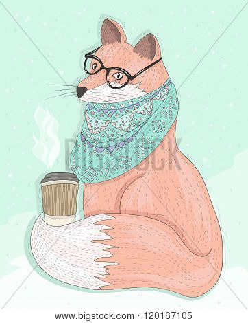 Cute hipster fox with glasses drinking hot coffee. Winter background. Vector illustration for kids or children.
