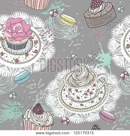 Seamless pattern with cupcakes tea and macaroons. Cute background with sweets.