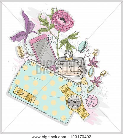 Background with purse mobile phone perfumeflower jewelry and macaroons. Cute illustration for girls or women.