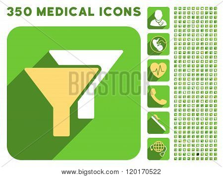 Filters Icon and Medical Longshadow Icon Set