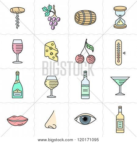 Vector icon set for back wine labels. Procurement, storage, cellar rotation and tasting icons. Linear style