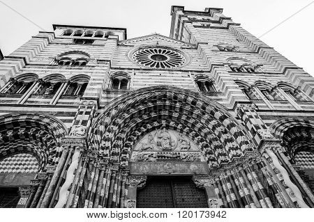 Cathedral Saint Lawrence in Genoa Italy. Black and white wide angle photo.