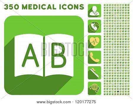 Open Handbook Icon and Medical Longshadow Icon Set