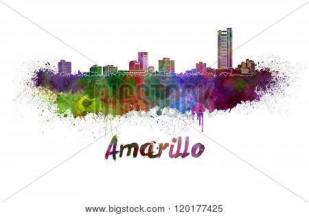 Amarillo Skyline In Watercolor