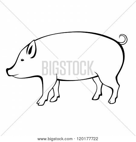 Pig black white isolated illustration vector