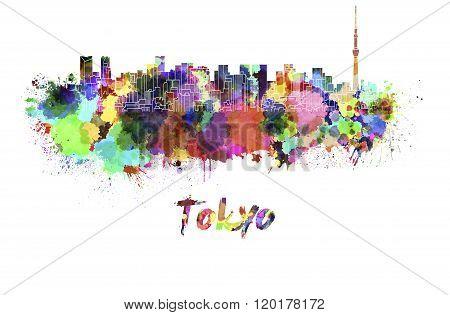 Tokyo V2 Skyline In Watercolor
