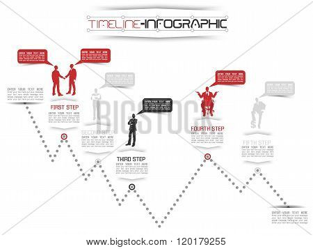 Timeline Infographic New Style  16 Red