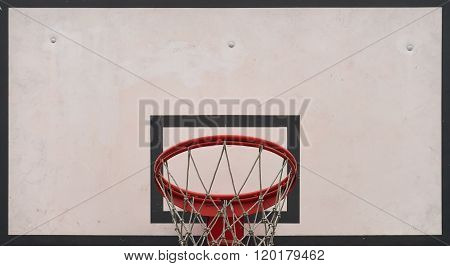 Closeup Of Basketball Board Under Cloudy Sky In A School Yard. Concept Of Kids Playing Outside. Team