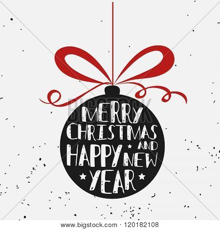 Typographical greeting card. Merry christmas and happy new year.