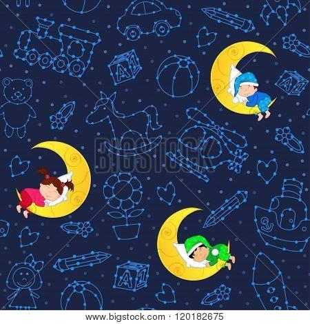 seamless pattern with children sleeping on moon among stars