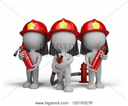 Three Firefighter With The Fire Extinguishers