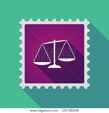 Long Shadow Mail Stamp Icon With  An Unbalanced Weight Scale