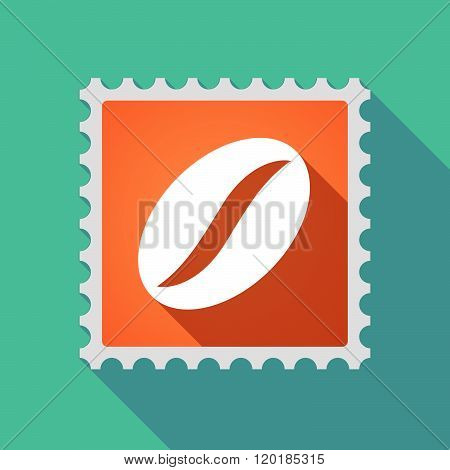 Long Shadow Mail Stamp Icon With A Coffee Bean