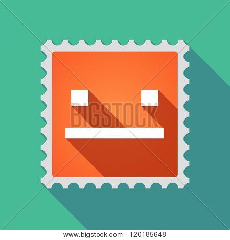 Long Shadow Mail Stamp Icon With A Emotionless Text Face