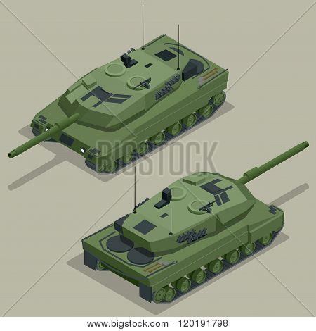 Flat 3d isometric illustration of tank. Military Transportation. Military Tank. Military Tank isomet