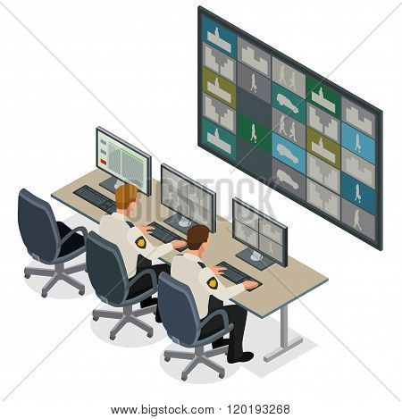 Security guard watching video monitoring surveillance security system. Mans In Control Room Monitori