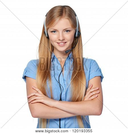 Woman support phone operator in headset
